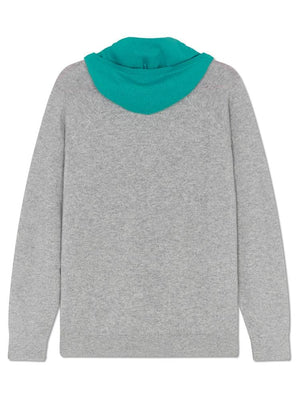 Pure Cashmere Hoody - Grey/turquoise