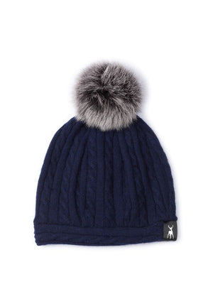 Slouchy Beanie in cable cashmere - Navy/grey - TALLIS