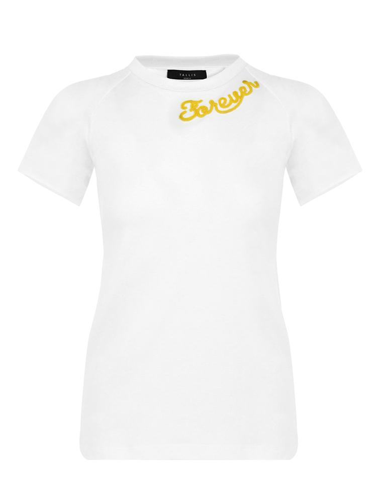 Cotton tee tshirt shirt - Forever embroidery word - Yellow - TALLIS