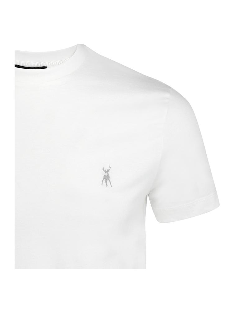 Cotton tee tshirt shirt - Stag embroidery - White - Mens - TALLIS