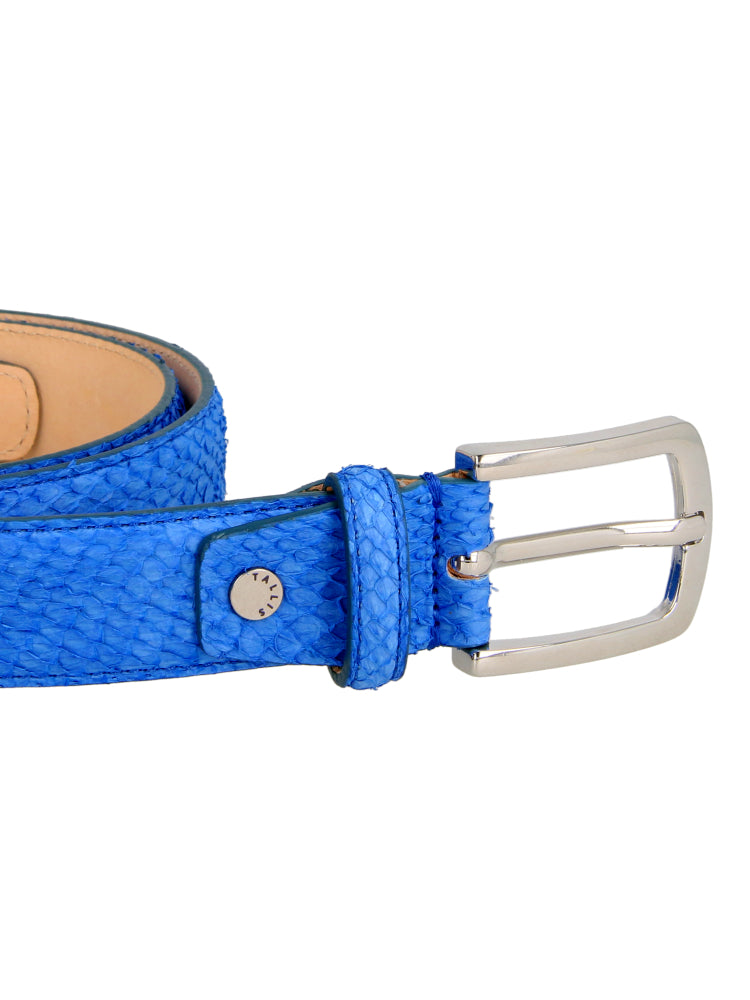 Fish Leather Belt with Nubuck Suede - Blue