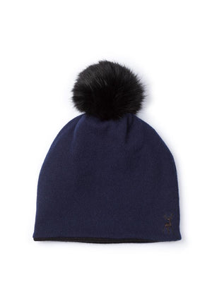 Reversible Beanie in Cashmere - Navy/black - TALLIS