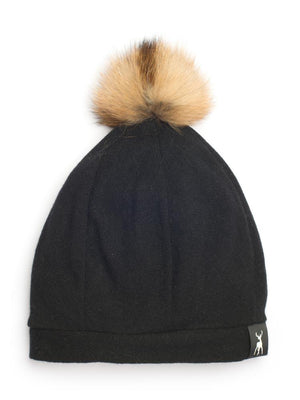 Slouchy Beanie in woven cashmere - Black - TALLIS
