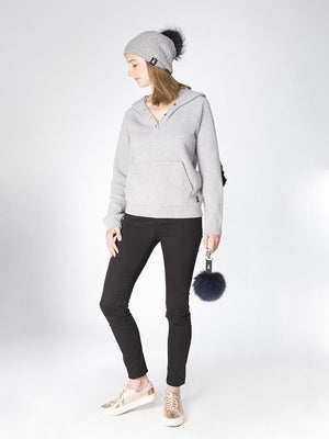 Slouchy Beanie in cable cashmere - Grey/navy - TALLIS