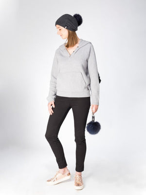 Slouchy Beanie in woven cashmere - Charcoal - TALLIS