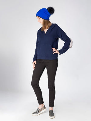 blue Reversible Beanie in Cashmere