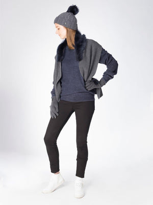 Teeny in Shearling - Charcoal with navy trim - TALLIS