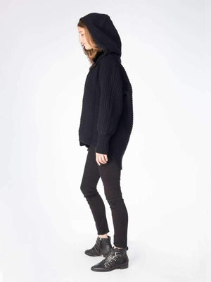 Chunky Cardi with Fur Hood - Black