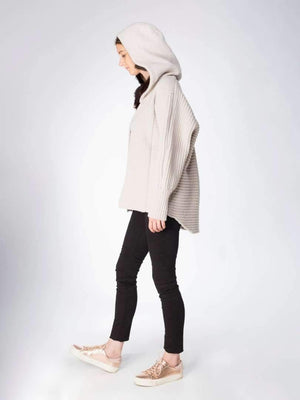 Chunky Cardi with Fur Hood - Biscuit/brown - TALLIS