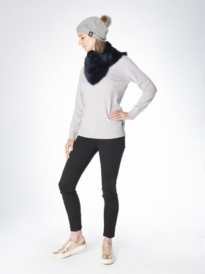 Slouchy Beanie in woven cashmere - Grey - TALLIS