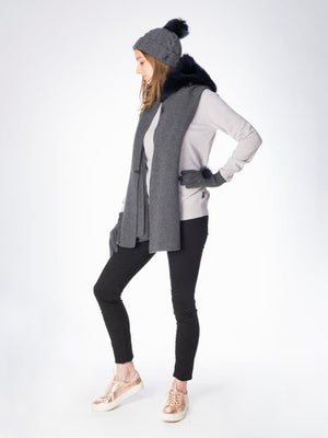 Tippet in Shearling - Charcoal with navy trim - TALLIS