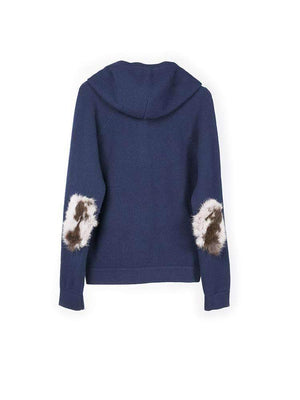 Cashmere Elbow Hoody - Navy