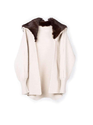 Chunky Cardi with Fur Hood - Biscuit/brown