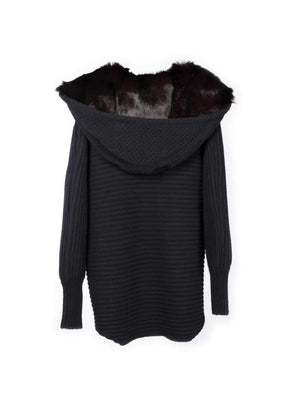 Chunky Cardi with Fur Hood - Black - TALLIS