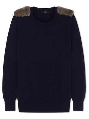 Cashmere Military Jumper - Navy
