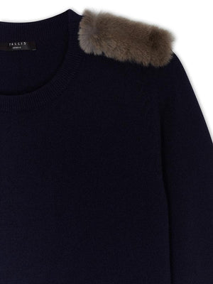 Cashmere Military Jumper - Navy - TALLIS