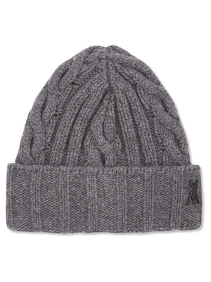 Charcoal chunky knitted cashmere beanie