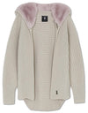 Chunky Cardi with Fur Hood - Biscuit/blush - TALLIS