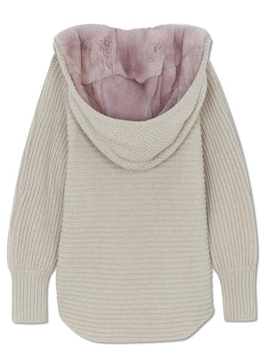 Chunky Cardi with Fur Hood - Biscuit/blush