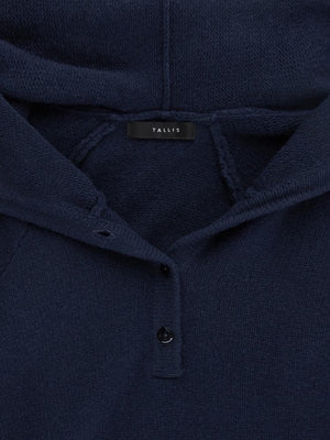Cashmere Elbow Hoody - Navy/grey