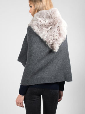 Tippet in Shearling - Charcoal with navy trim