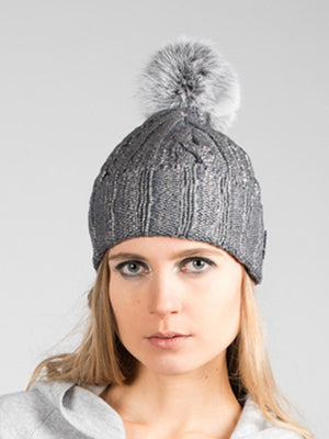 Metallic Print Beanie - Copper