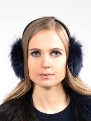 Fur Earmuffs - Navy - TALLIS