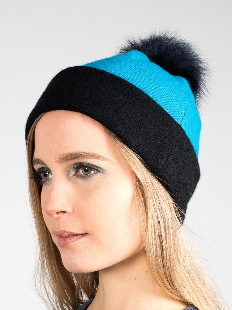 faa0f717c7412 Turquoise cashmere beanie with pompom. Blue fur Tallis