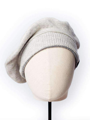 Cashmere Military Beret - Light Grey