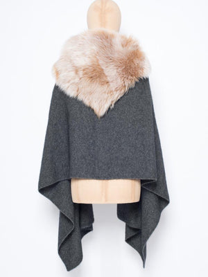 Tippet in Shearling - Charcoal with cream trim - TALLIS