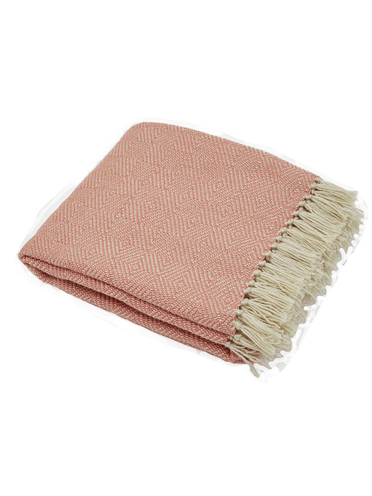 Weaver Green Diamond Blanket - Coral