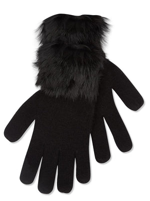 Cashmere Gloves with Fur Trim - Black
