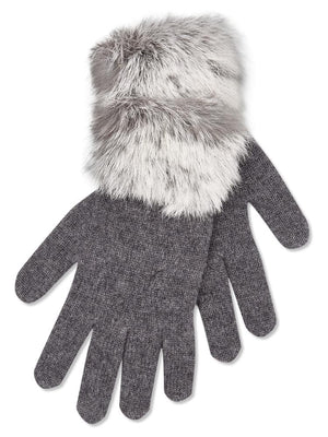 Cashmere Gloves with Fur Trim - Charcoal - TALLIS