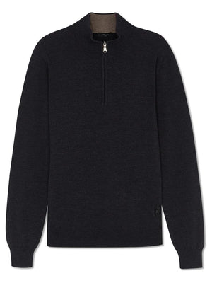 Merino Classic Zip-up Jumper - Charcoal - TALLIS