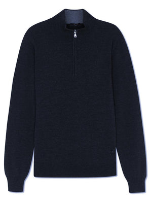 Merino Classic Zip-up Jumper - Navy - TALLIS