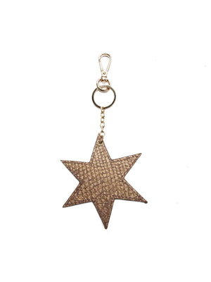 Fish Leather Star Keyring