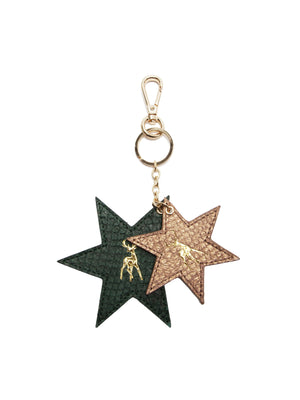 Fish Leather Star Duo Keyring