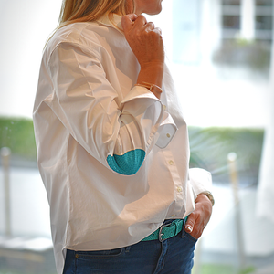 Turquoise elbow patches shirt