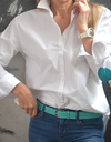 Turquoise elbow patches shirt turquoise belt