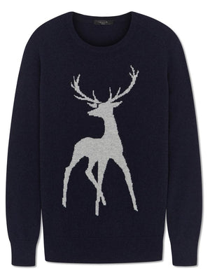 Tallis Cashmere Jumper - Navy/Grey