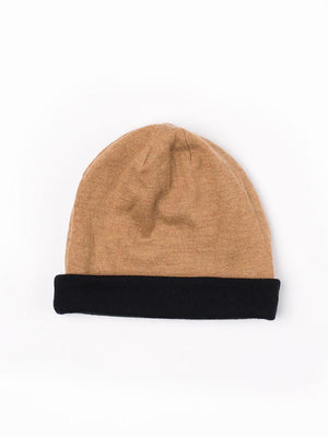 Reversible Beanie in merino - Camel/black