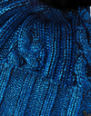Blue cable metallic shiny cashmere knit