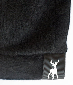 Slouchy Beanie in woven cashmere - Black