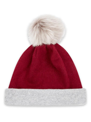 Reversible Beanie in Cashmere - Burgundy/light grey - TALLIS