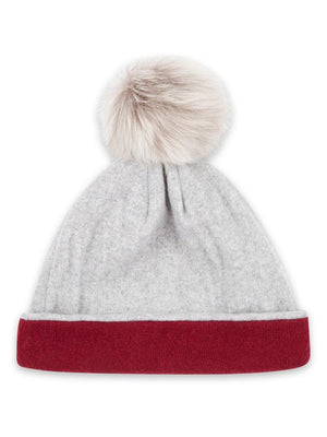 Reversible Beanie in Cashmere - Burgundy/light grey