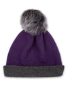 Reversible Beanie in Cashmere - Purple/Charcoal - TALLIS