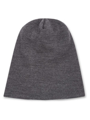 Reversible Beanie in Merino - Black/Charcoal