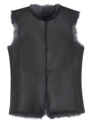 Reversible Shearling Gilet - Grey