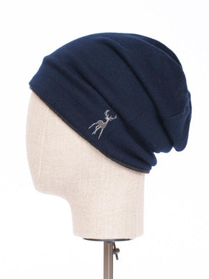 Reversible Beanie in Merino - Navy/charcoal