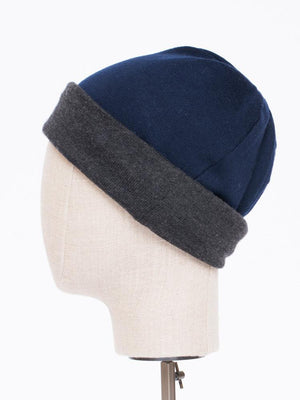 Reversible Beanie in merino - Camel/black - TALLIS